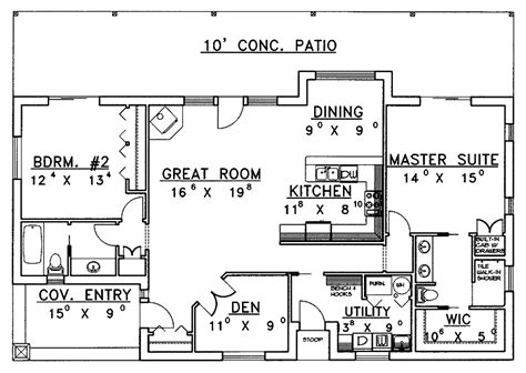 2 bedroom floor plans ranch beautiful 2 bedroom ranch house plans for hall kitchen