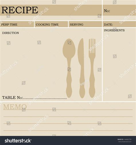 restaurant recipe card template restaurant recipe kitchen note template menu stock vector