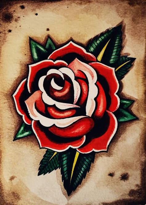 rose tattoo red 70 traditional school flower tattoos golfian