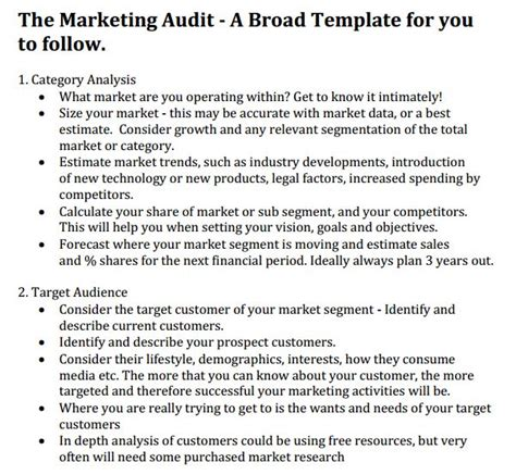 audit strategic plan template marketing audit template 26 free word excel documents