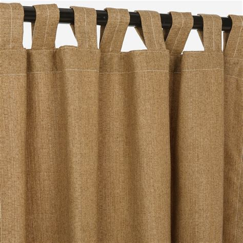 Linen Sesame Sunbrella Outdoor Curtains With Tabs