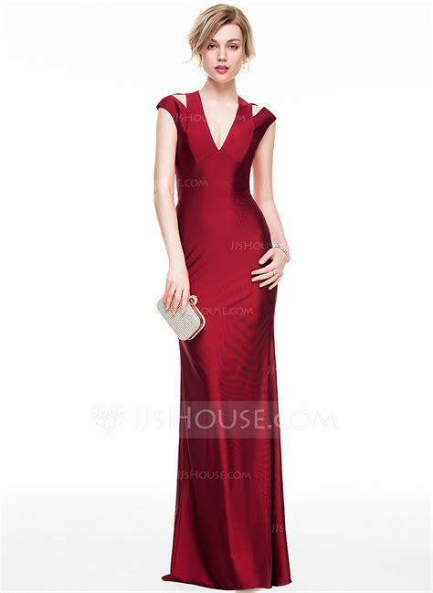 Sheath/Column V neck Floor Length Jersey Evening Dress