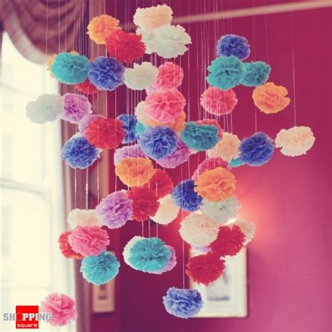 Yellow Tissue Paper Pom Poms for Party Decorations 20cm   Online Shopping @ Shopping Square.COM
