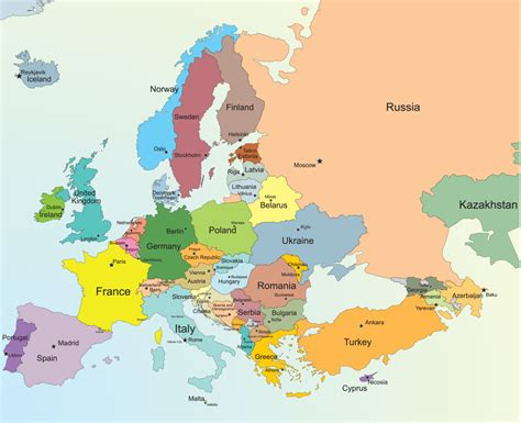 map of europen europe map with cities blank outline of at political