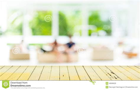 Living Room Background Stock Images Empty Wood Table And Blurred Living Room Background Stock