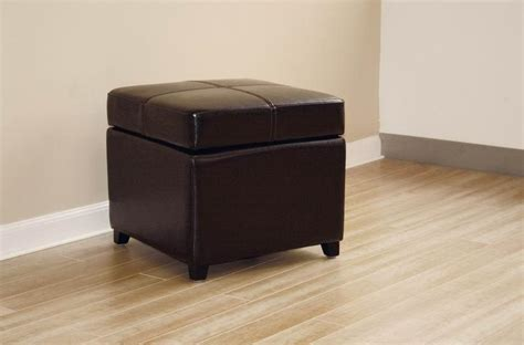 Dark Brown New Leather Storage Cube Ottoman Footstool Ebay Cube Storage Ottomans