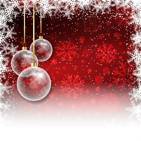 red christmas background with baubles vector free download