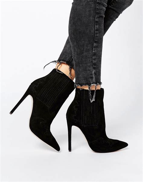asos asos eclectic suede western pointed ankle boots at asos