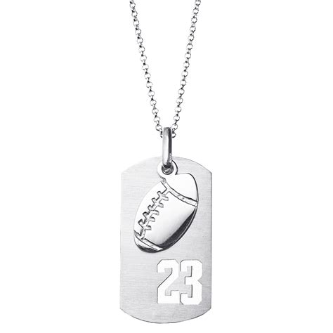 Tag Necklace sterling silver football sports number tag necklace