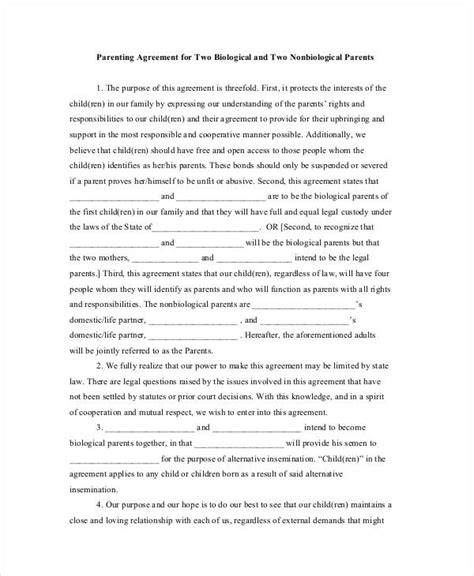 parenting agreement templates 8 free pdf documents