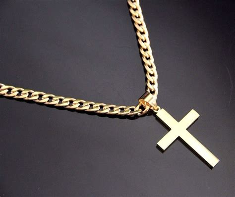 Cross Chain Necklace stainless steel gold plain cross pendant with 24