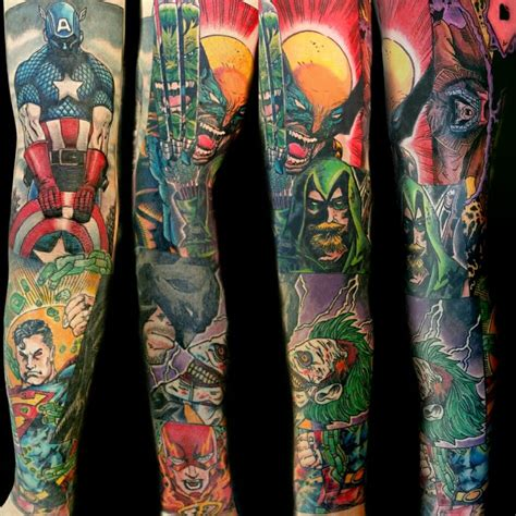 marvel tattoo sleeve comic book sleeve by steve rieck from las vegas nv