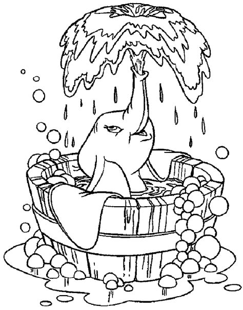 disney coloring pages dumbo dumbo taking a bath dumbo coloring pages pinterest