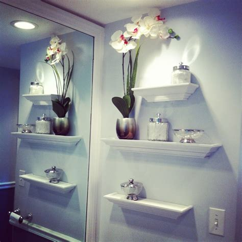 Decorating Ideas For Bathroom Shelves Beautiful Bathroom Wall Decor Using Sweet Flower Vase Decoration Wall Mounted Shelves