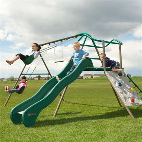 lifetime swing set accessories lifetime climb and slide swing set playset earthtone 90462