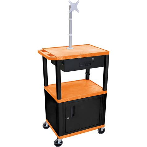 luxor cart with locking cabinet luxor 42 quot a v cart with monitor mount 3 wt42orc2me b wtd