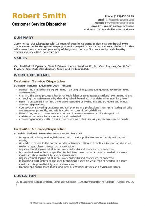 Dispatcher Resume Summary