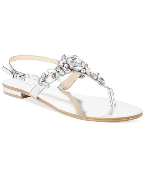 guess flat sandals guess s foxeyy flat sandals in metallic lyst