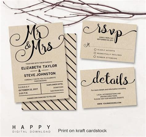 printable wedding invitation set editable modern wedding