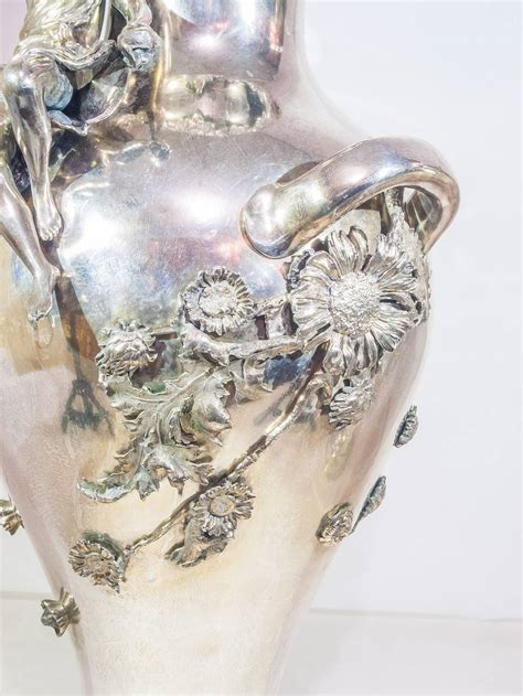 Silver Plated Flower Vase by Pair Of Silver Plated Nouveau Figural Flower Vases For Sale At 1stdibs