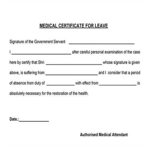 doctor certificate for sick leave template 28 images
