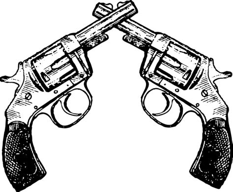 crossed revolvers tattoo revolver 2x clip at clker vector clip