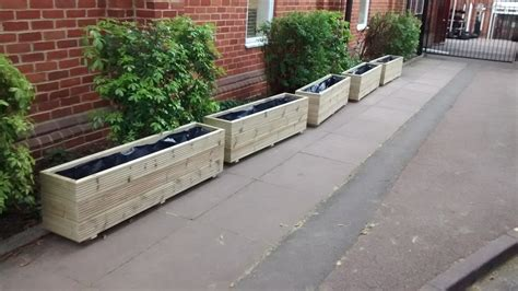 Decking Planters by 3 Rows Of Decking Trough Planters Premier Wooden Planters