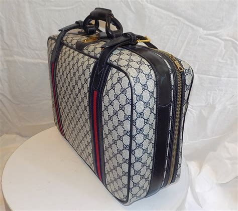 Gucci Cabin Luggage by Gucci Vintage Blue Striped Logo Traveling Bag Luggage At
