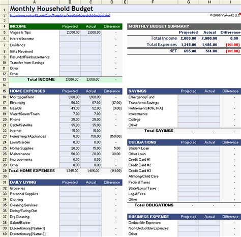 monthly family budget template household budget worksheet for excel