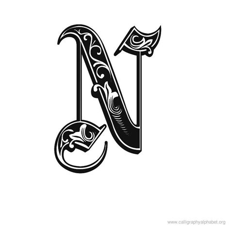 Calligraphy Alphabet N | Alphabet N Calligraphy Sample ... H Alphabet In Style