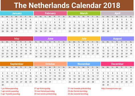 Calendar 2018 Belgium Gelukkig Nieuwjaar 2018 Nederlandse Kalendervakanties