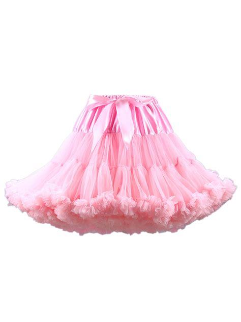 light pink tulle skirt light pink bowknot waist ruffle trim tulle bustled skirt