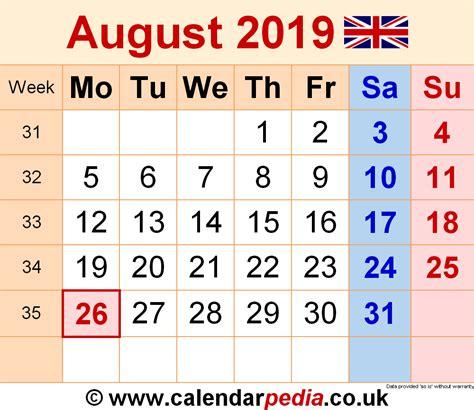 calendar august uk bank holidays excelpdfword