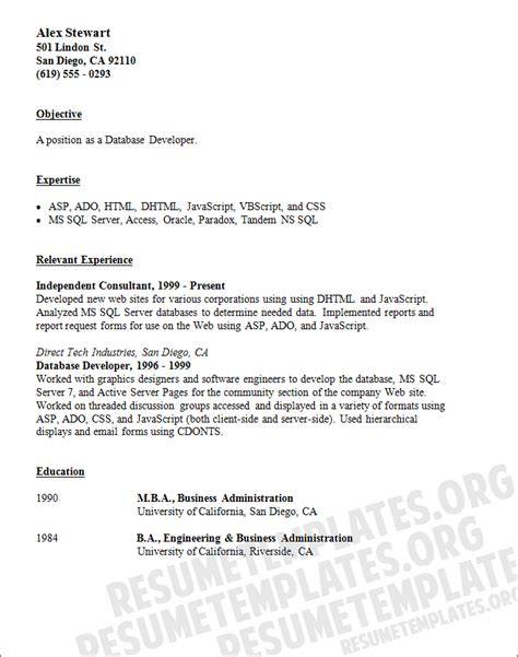 basic resume template for visual basic developer resume exle software