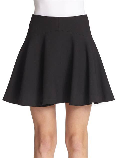 milly stretch knit a line skirt in black lyst