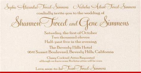 how to put attire in wedding invitation gene simmons the smart wedding announcement tmz