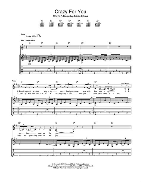 guitar chords for adele best for last adele crazy for you sheet music