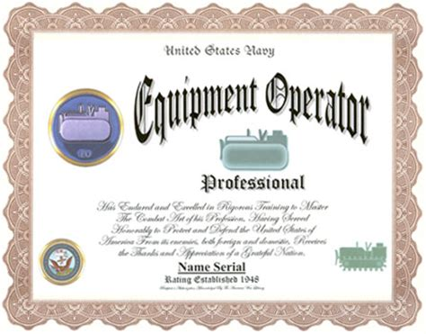 heavy equipment operator card template equipment operator professional display recognition