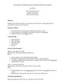 A Simple Resume Exle by Resume Of A Receptionist Sales Receptionist Lewesmr