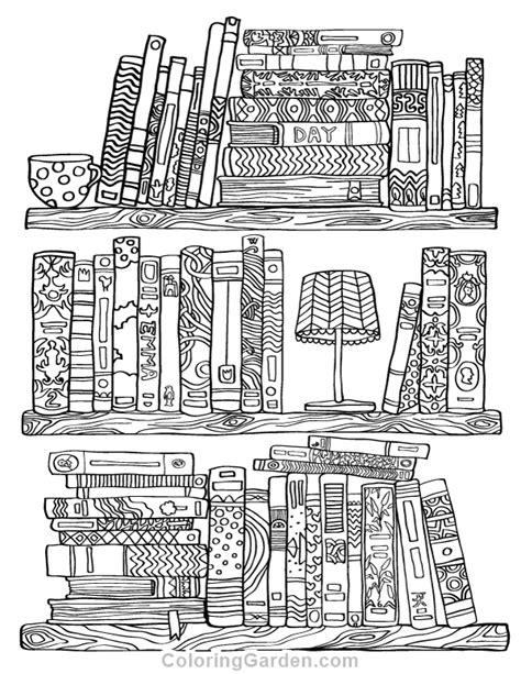coloring page bookshelf bookshelf adult coloring page