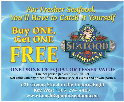 printable restaurant coupons florida conch republic seafood company key west key west