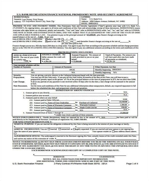 promissory agreement template 6 promissory note agreement form sles free sle