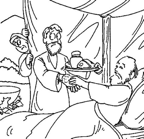 coloring page jacob and esau jacob bring food to isaac in in jacob and esau coloring