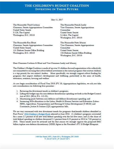 Support Letter For Priority Housing Congress Make Children A Priority In 2018 Budget