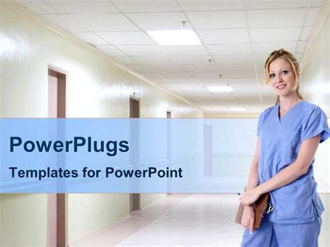 Powerpoint Template A Nurse Standing In A Hospital Corridoor Holdng A Clipboard 22306 Nursing Powerpoint Templates