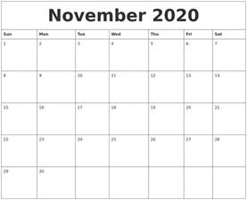 october 2020 month calendar template
