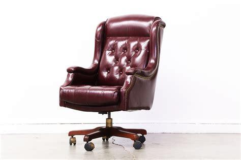 vintage leather desk chair vintage burgundy leather chesterfield style office chair