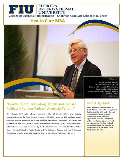 Healthcare Mba Fiu by Healthcare Mba Newsletter November 2011 By Fiu Business