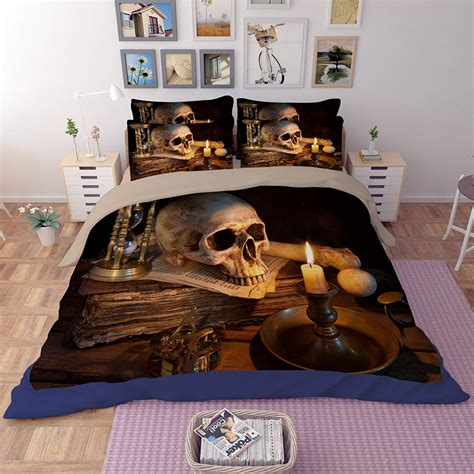 Bed Cover Skull Tengkorak 120x200 1 new arrival 3d human skeleton black skull s design bed sheet set