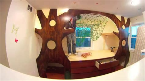 diy kids bedroom diy kid s bedroom makeover on a budget treehouse with a hammock youtube